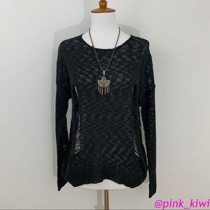 Lucca Couture Shredded Pullover Sweater